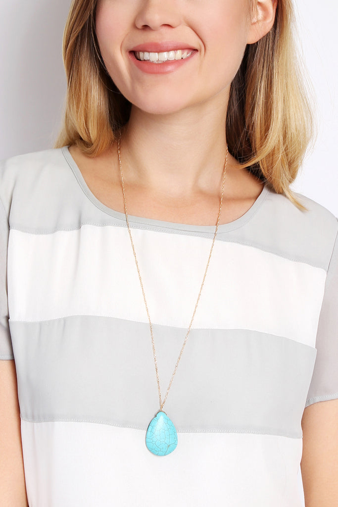 HDN1561 - TURQUOISE PENDANT NECKLACE