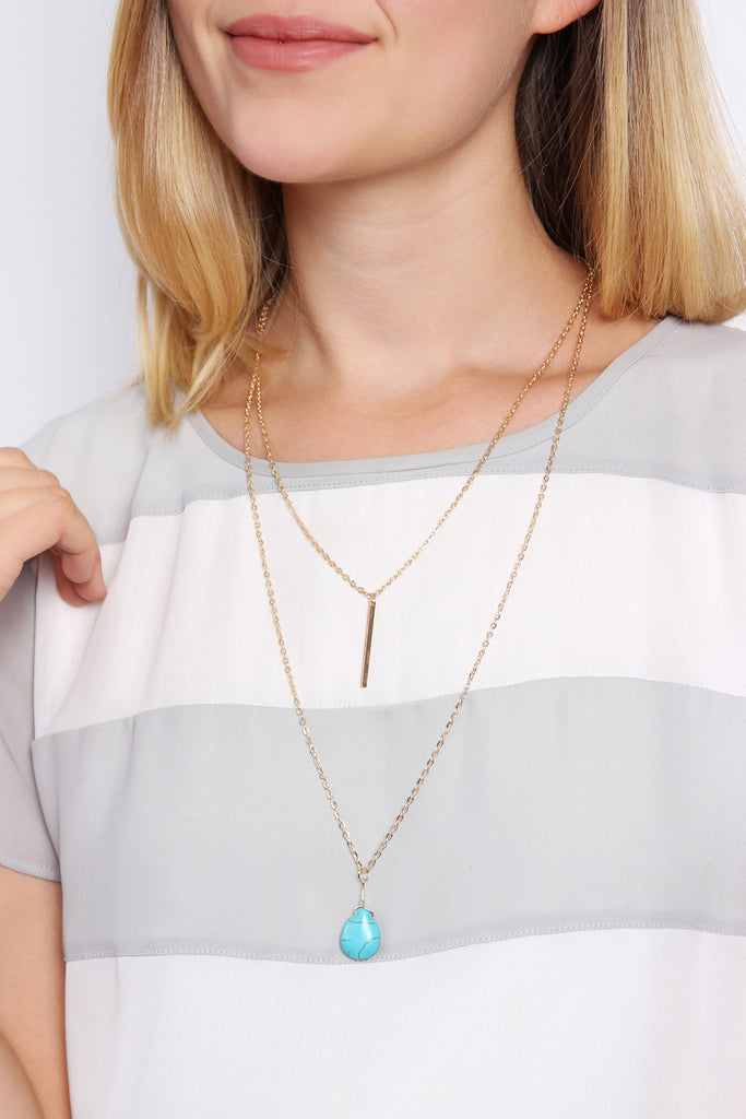 MATCHSTICK TEARDROP LAYERED NECKLACE