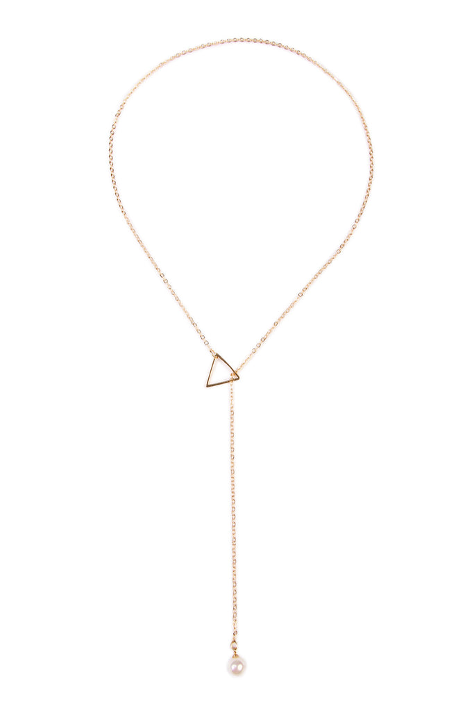 Triangle Pearl  Pendant Necklace