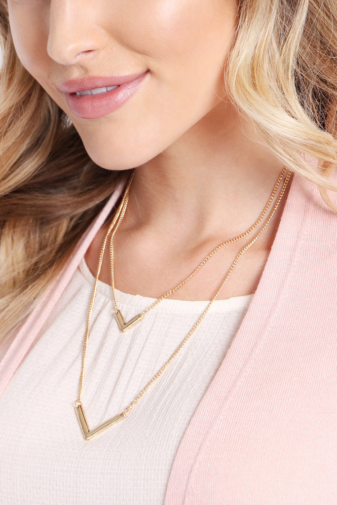 HDN1599 - V-SHAPE LAYERED NECKLACE