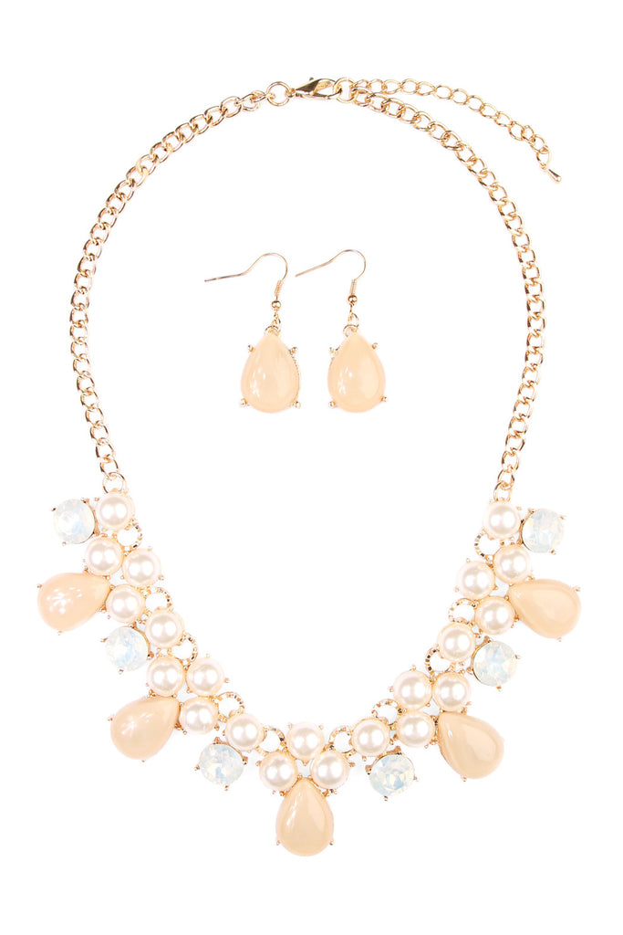 Teardrop Beaded Statement Necklace and Earrings