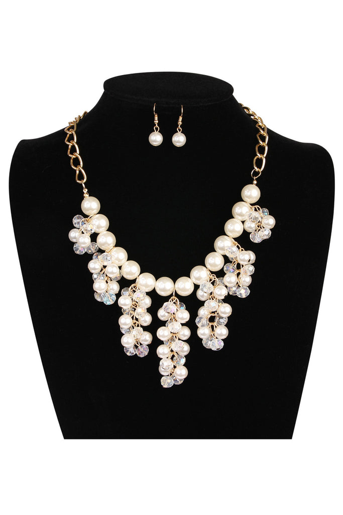 Acrylic Pearl Chain Statement Necklace and Earrings