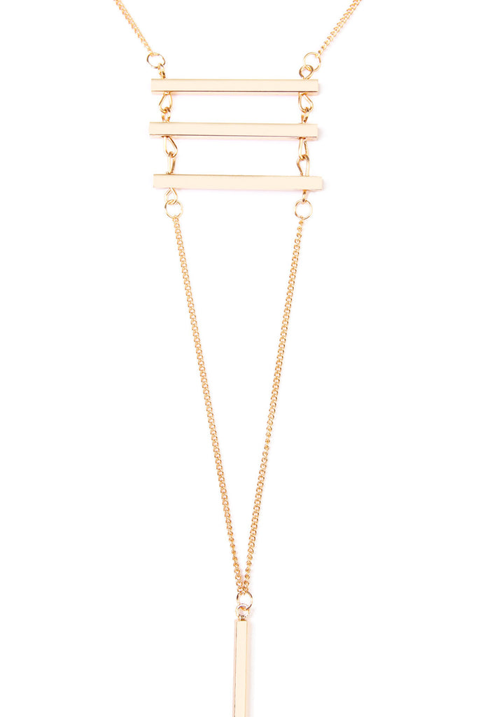 HDN1627 - THREE BAR LAYERED LARIAT NECKLACE