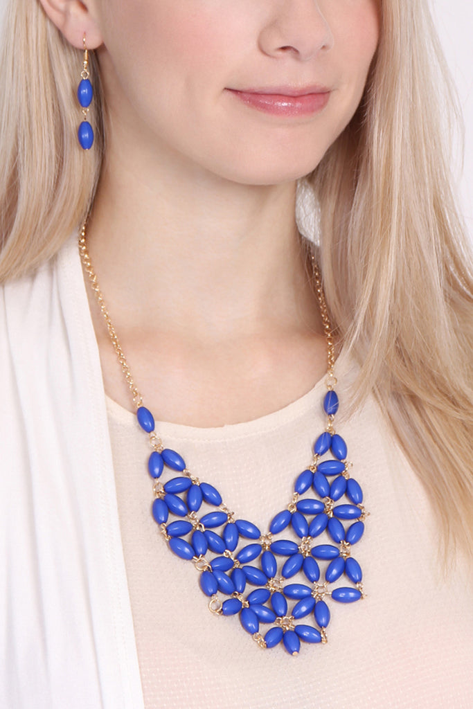 Beaded Bib Necklace and Earring Set