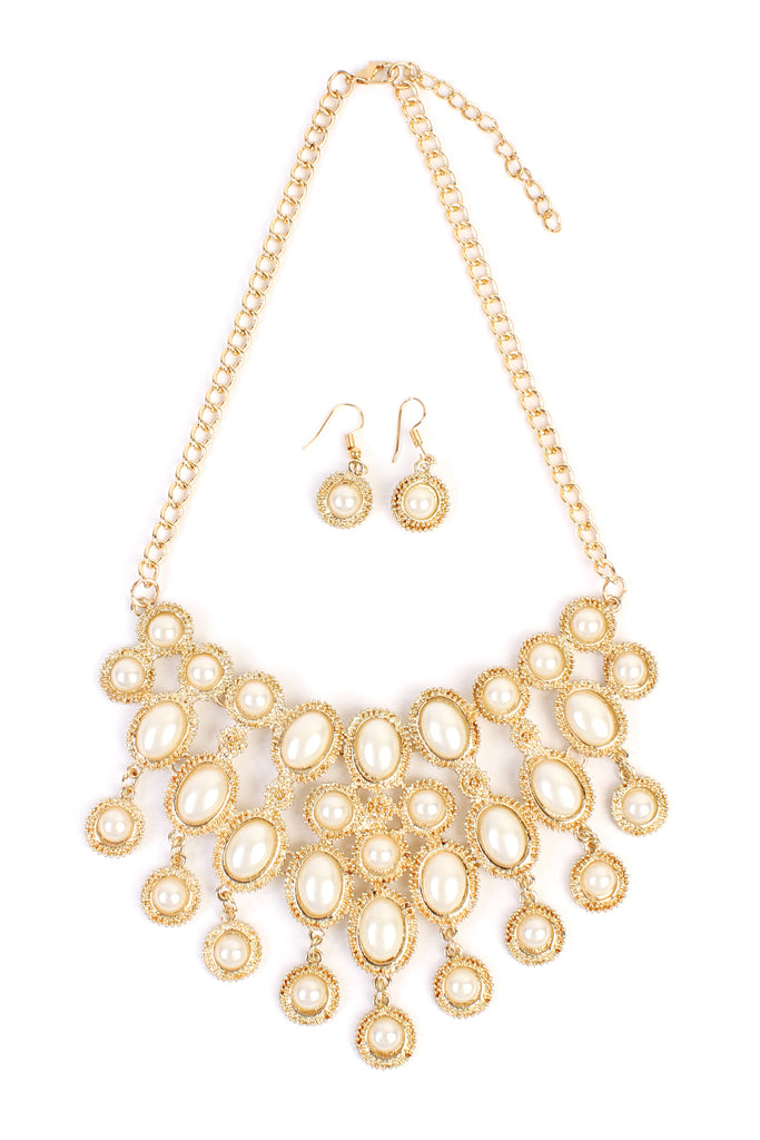Pearl Bib Statement Necklace & Earring Set