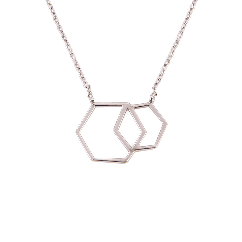 Double Hexagon Pendant Necklace