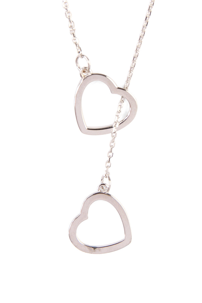 Double Open Heart Pendant Necklace