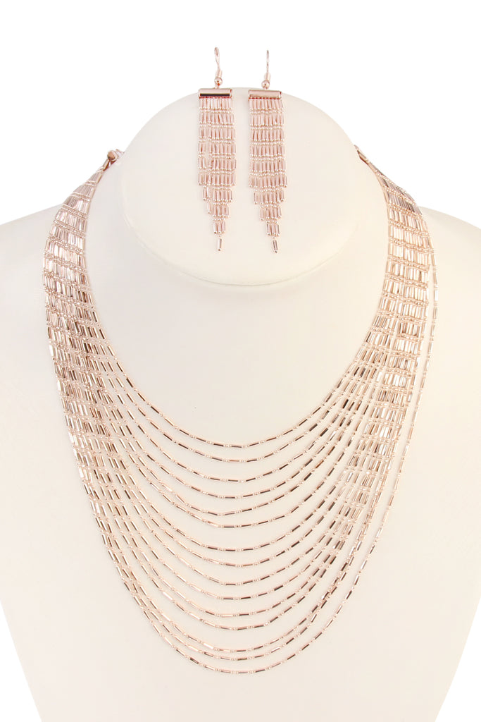 Multi Layer Brass Necklace & Earring Set