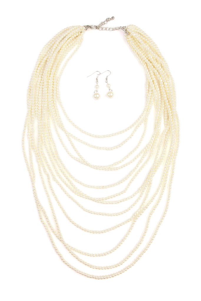 Glass Pearl Layered Necklace and Earring Set