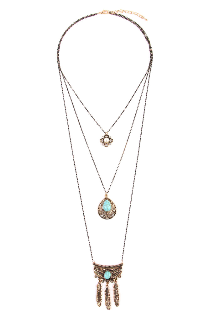 Boho Flower Teardrop Turquoise Pendant Layer Necklace