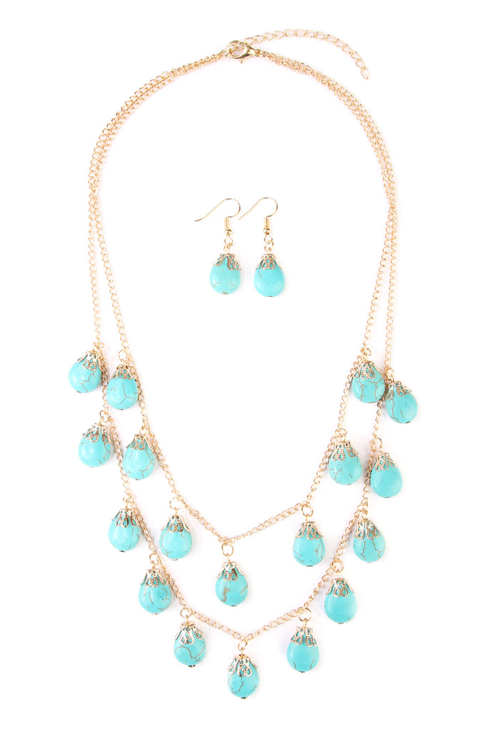 Turquoise Layered Necklace and Earring Set