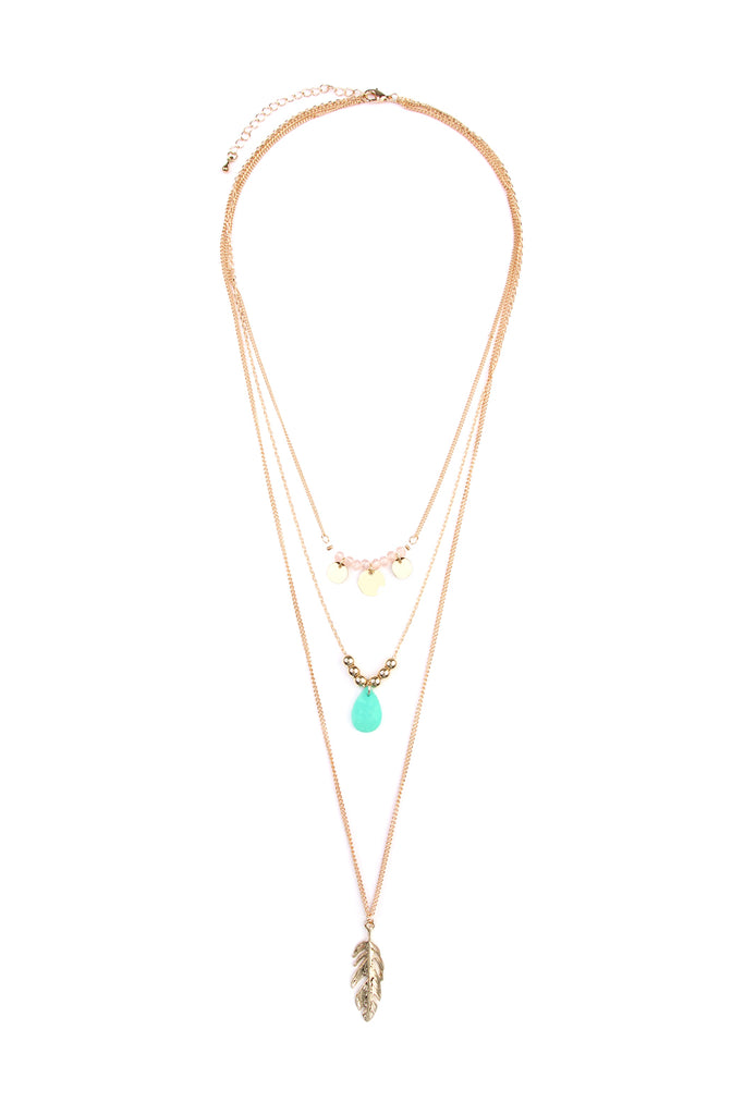 Leaf Multi Pendant Three Layer Necklace