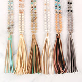 HDN2238 - COLORFUL NATURAL STONE GLASS BEADS LEATHER TASSEL NECKLACE