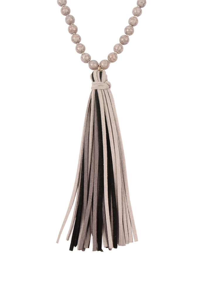 Colorful Natural Stone Glass Beads Leather Tassel Necklace