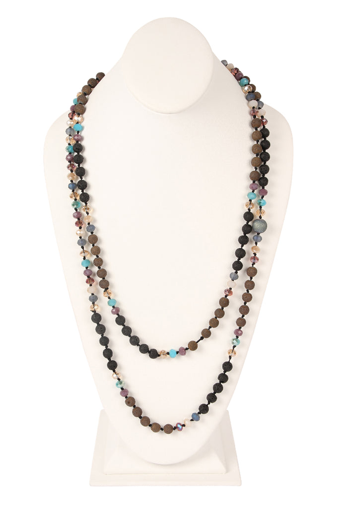 60 Inches Lava Crystal Natural Stone Necklace