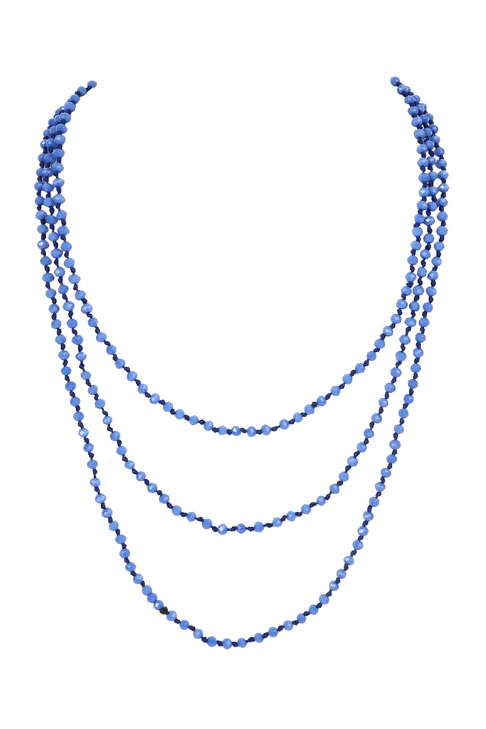 Long Hand Knotted Glass Beads Necklace