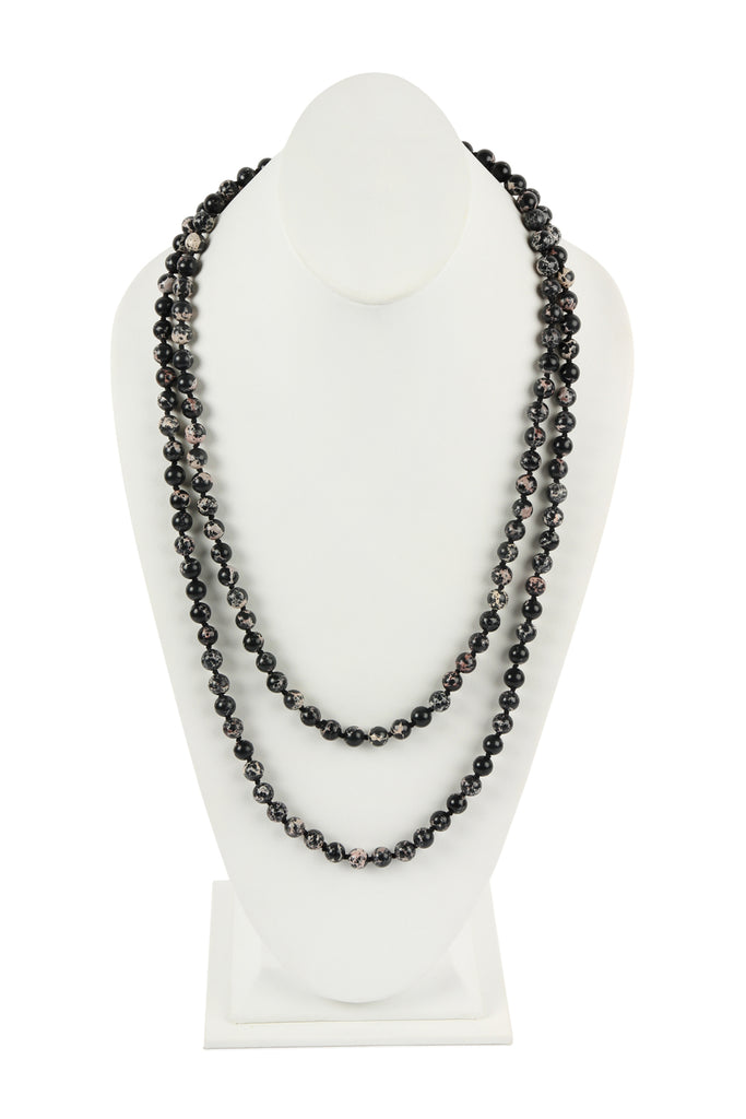 60 Inches Marble Beads Long Necklace