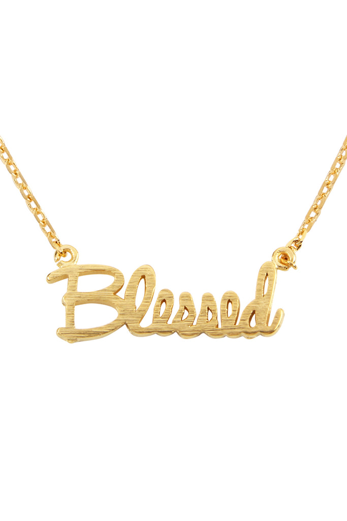 "Cast ""Blessed"" Pendant Necklace"