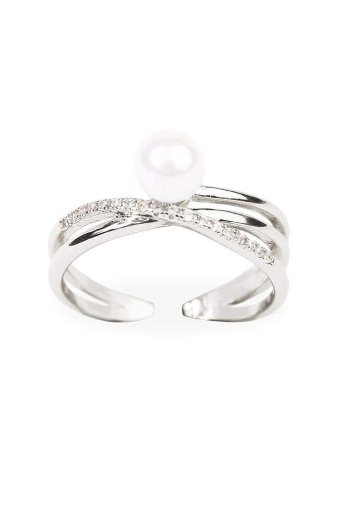 Infinfty Cubic Zirconia Pearl Ring