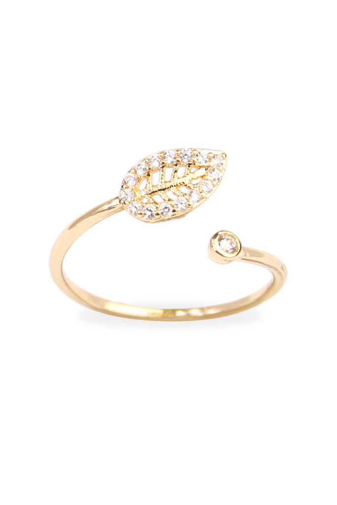 Tiny Leaf Cubic Zirconia Ring