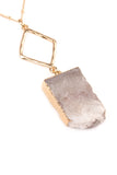 Natural Druzy Stone Pendant Necklace