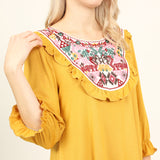 Ethnic Print Embroidered Yoke Tunic