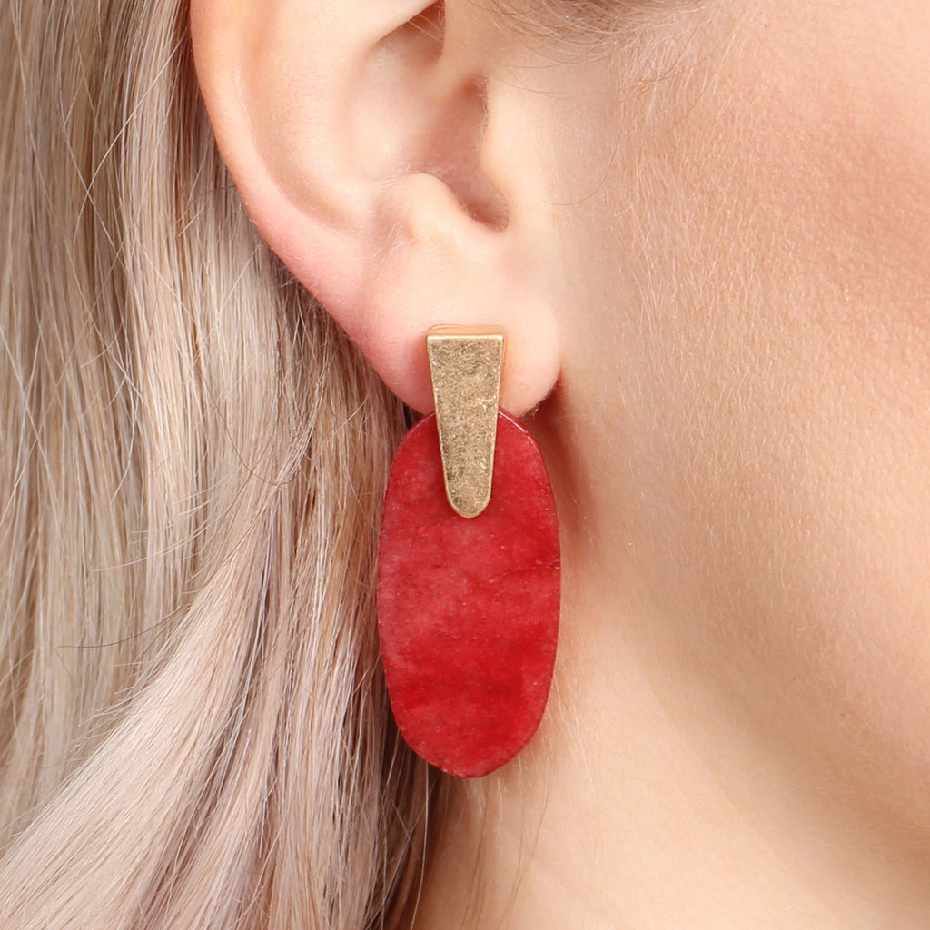 Stone Gold Post Earrings