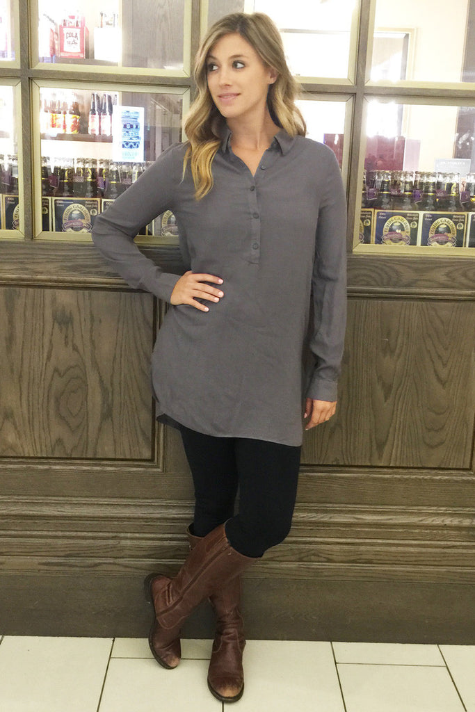 Button Down Tab Sleeve Blouse - 4 Colors