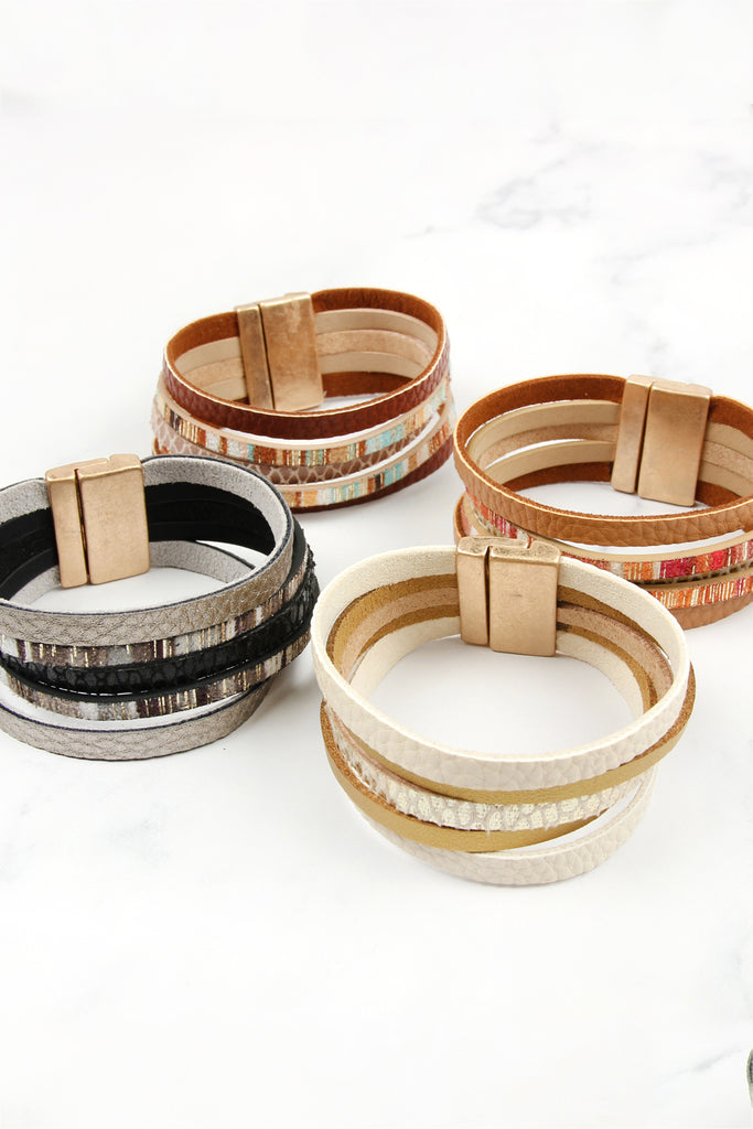 LAYER SUEDE MAGNETIC LOCK BRACELET