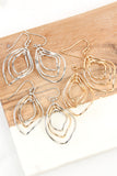 WIRE HAMMERED MARQUISE HOOK EARRINGS