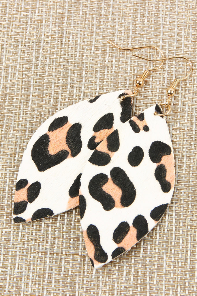 Leopard Marquise Leather Hook Earrings
