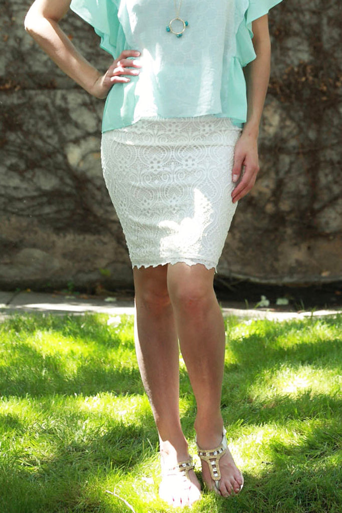 Ivory Lace Pencil Skirt