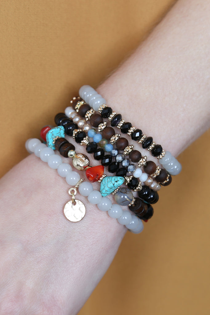Hammered Charm Stackable Bracelet