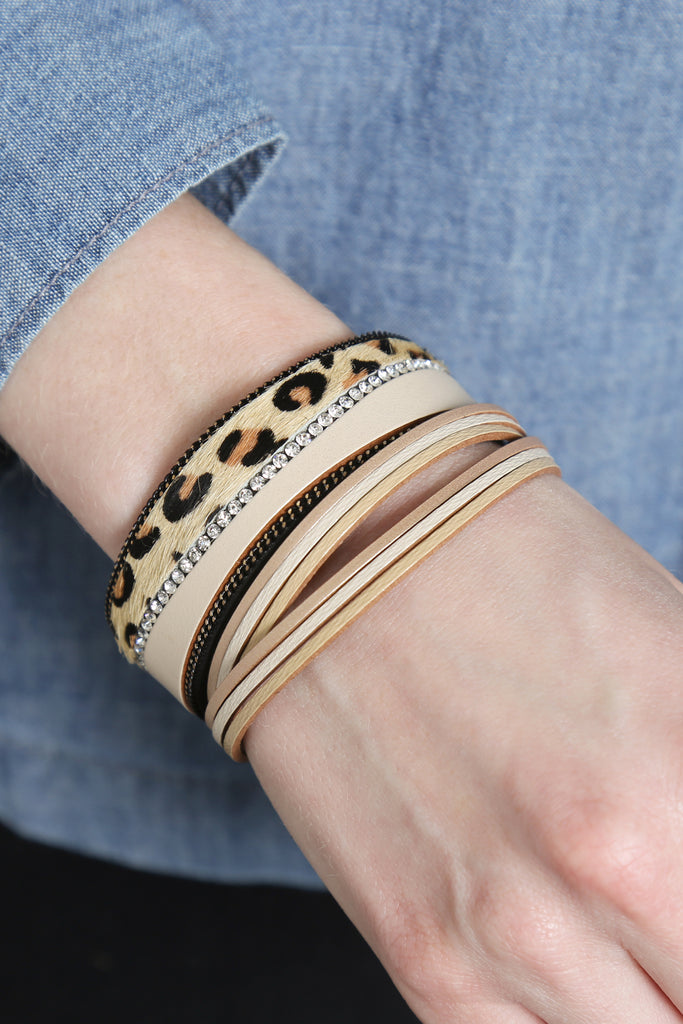 Leopard with Rhinestone and Chain Wrap Bracelet