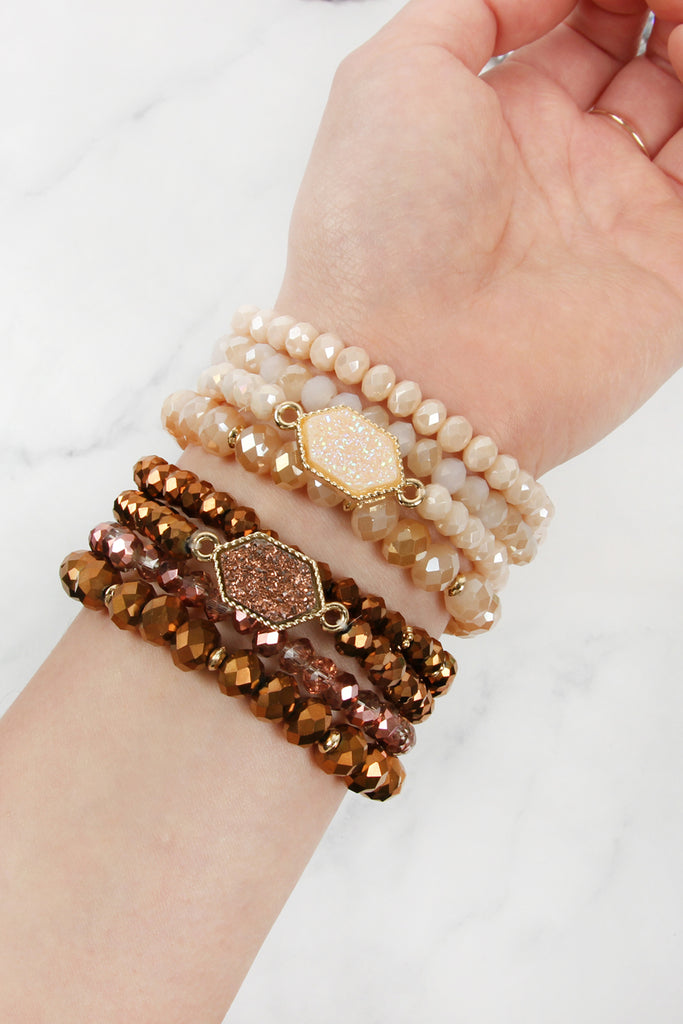 HDB2227 - DRUZY GLASS BEADS BRACELET SET