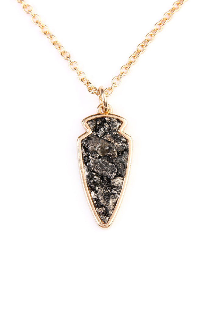 Arrowhead Shape Stone Pendant Necklace