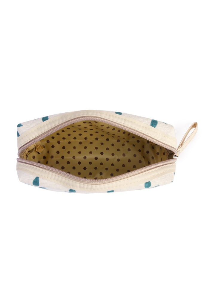 J122-1 - BLUE LEAF ART COSMETIC POUCH