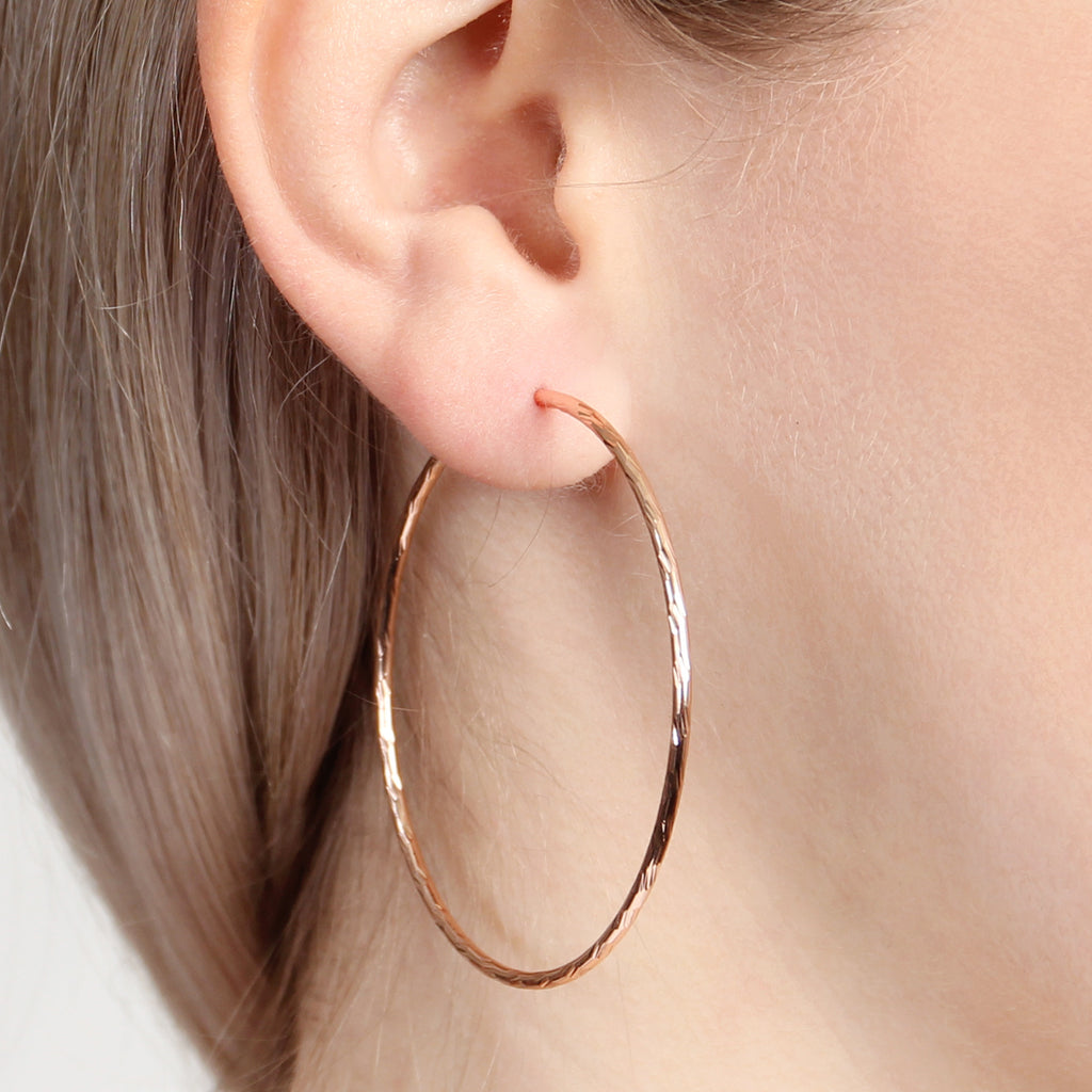 Textured Endless Medium Hoop Earrings