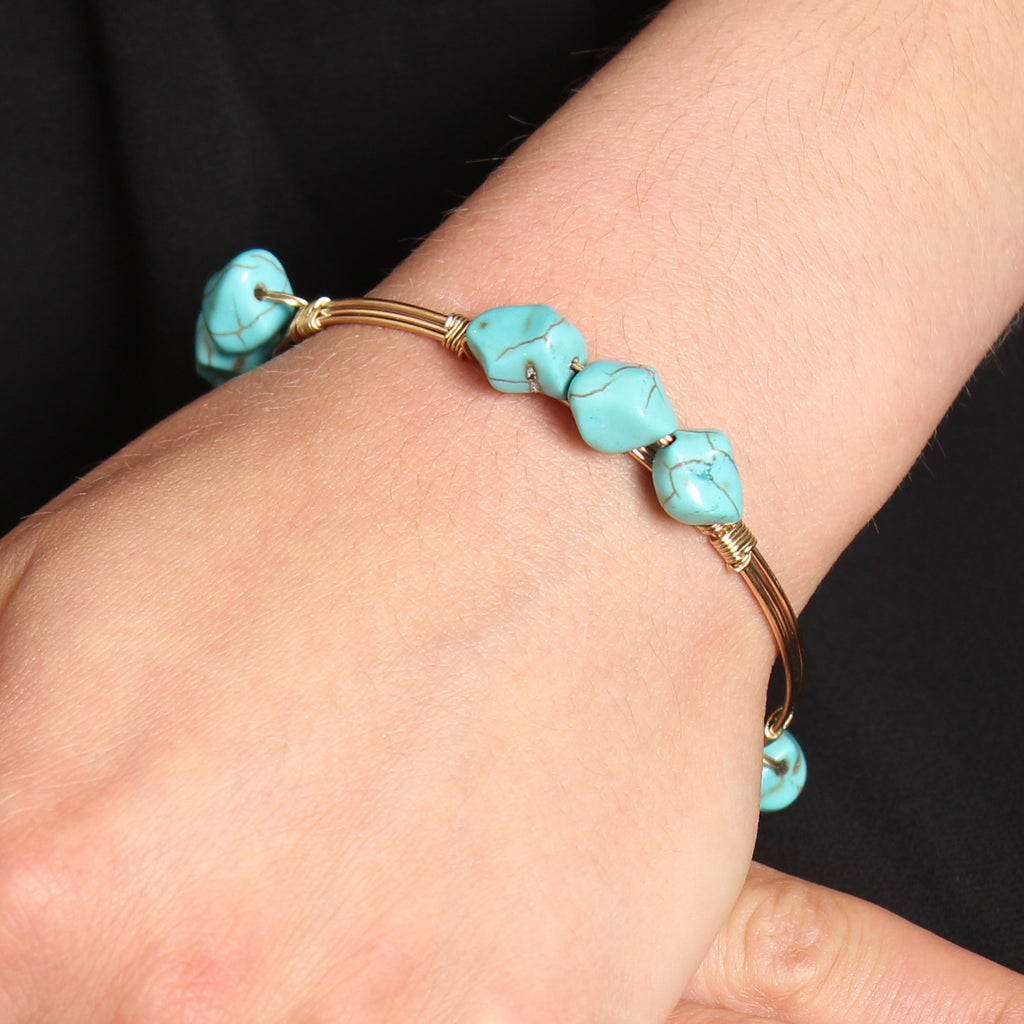 Turquoise Stone Wired Bracelet