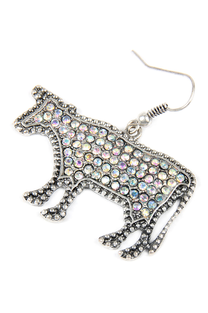 Cow Rhinestone Drop Earrings