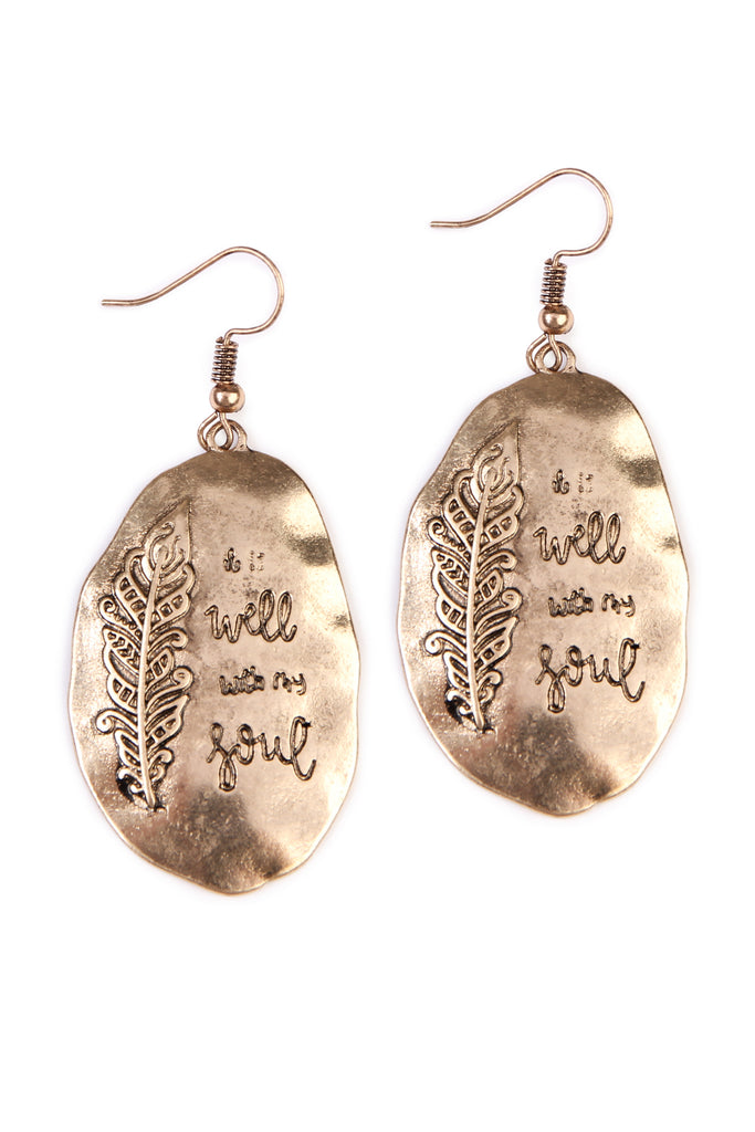 """I Will With My Soul"" Boho Engraved Message Earrings - Riah Fashion"