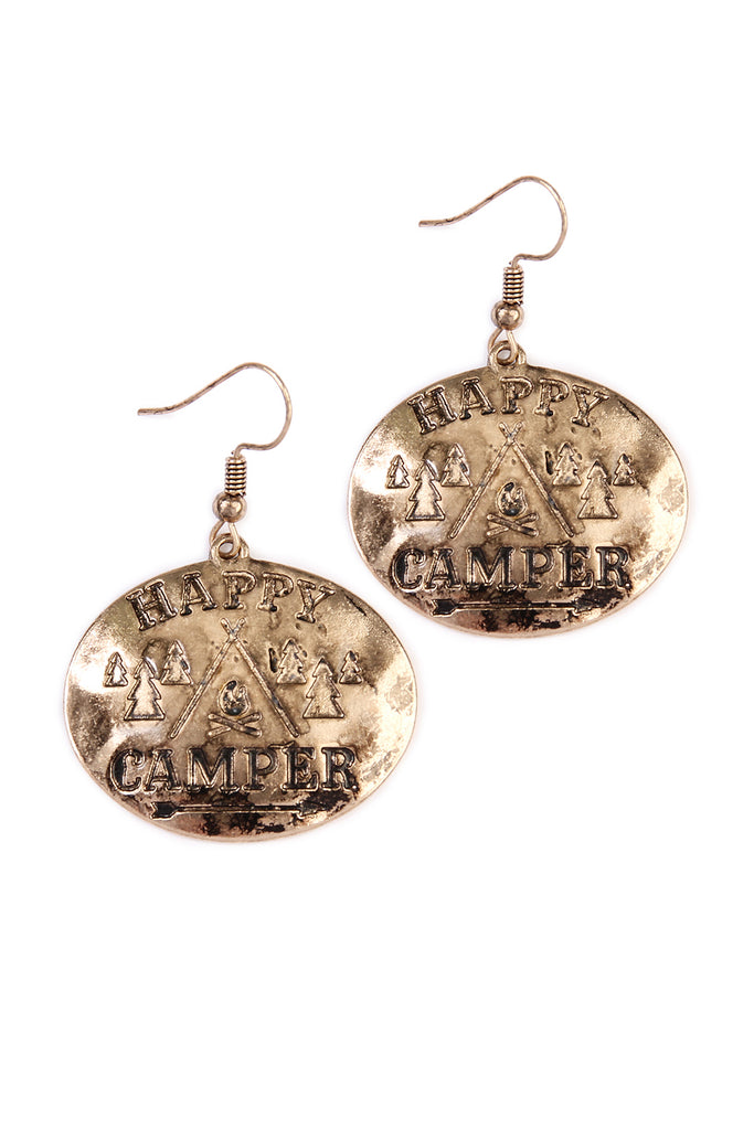 Happy Camper Engraved Message Earrings