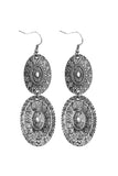 KE0402 - EMBELLISHED OVAL LINKED DROP BURNISHED EARRINGS