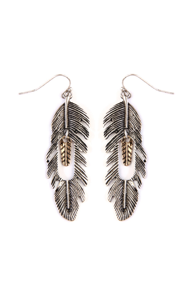 Feather Etched Hook Earring