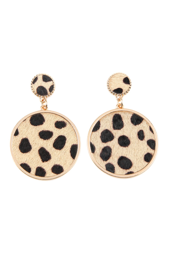Animal Print Disc Leather Inset Earrings