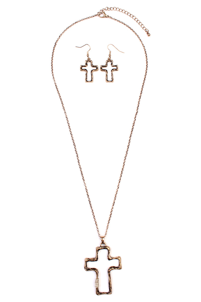 Vintage Cross Wired Necklace Set