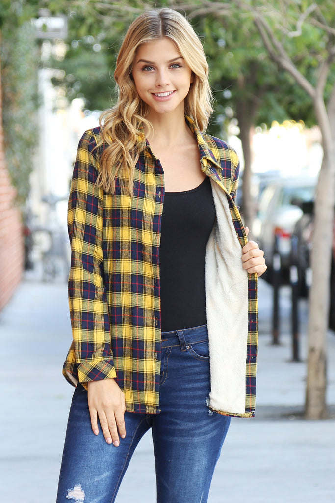 Button Down Sherpa Lined Flannel Shirt