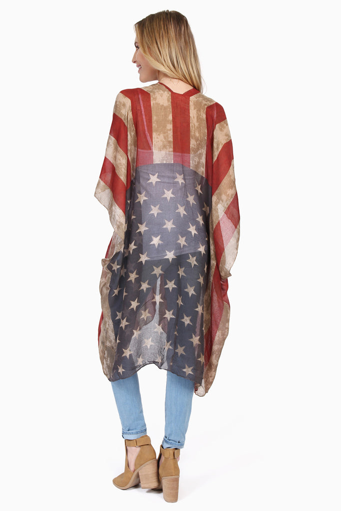 U.S. Flag Print Sheer Ruana