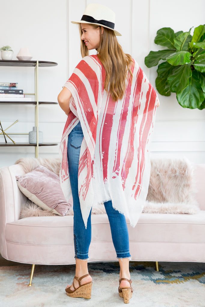 U.S. FLAG PRINT SEMI-SHEER RUANA