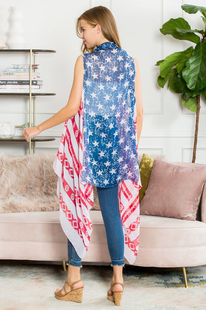Stars & Stripes Open Front Vest Cardigan